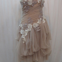 Custom Made One of A Kind Tulle Slant Asymmetrical Dress