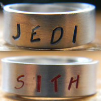 PRE ORDER Sith or Jedi  wars inspired choose ONE aluminum ring 1/4 inch