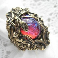 Dream Weaver Ring - Mexican Glass Fireopal in Antiqued Brass