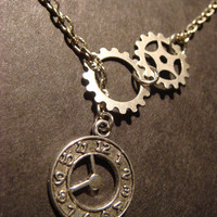 Steampunk Gear and Cog with Clock Lariat Style Necklace in Antique Silver