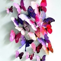 24Pcs Butterfly New Home Decoration DIY Removable 3D Vivid Special Man-made Lively Butterfly Art DIY Decor Wall Stickers for home Room Pink,Purple:Amazon:Sports & Outdoors