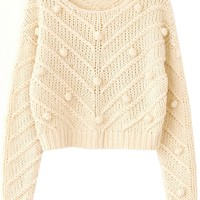 Woolen Ball Ornate Cable Sweater - OASAP.com