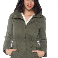 Got a Hold on Me Hooded Military Jacket - Olive