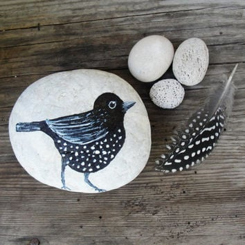 Bird, Feather and Eggs Beach Pebble Art Hand painted Bird, natural Zen stones, Feather
