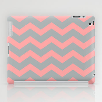 Chevron Gray Coral Pink iPad Case by BeautifulHomes | Society6