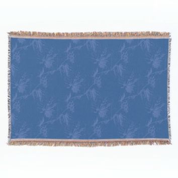 Vintage Grapevine Blue Throw Blanket