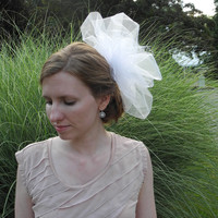 Large Pouf Veil / Tulle and Russian Netting / Choose White or Ivory  - made to order - please allow 2 weeks