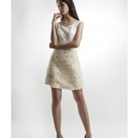 White Cotton and Lace Dress by IZAR