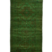 4x7 Overdyed Vintage Tribal Green Rug woh-2543