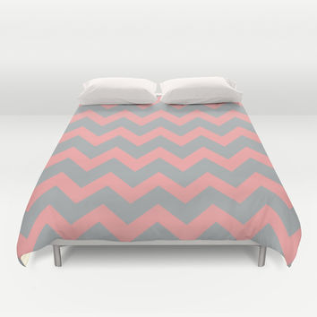 Chevron Gray Coral Pink Duvet Cover by BeautifulHomes | Society6
