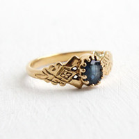 Antique 14k Yellow Gold Etched Filigree Sapphire Ring - Size 5 Vintage 1930s Oval Blue Gemstone Fine Jewelry
