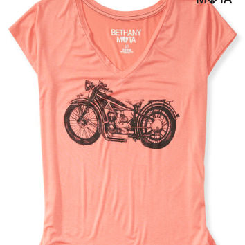 Motorcycle V-Neck Graphic T