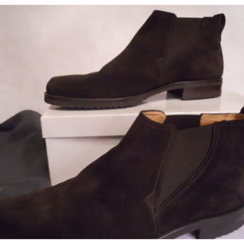 Men's GRAVATI Chocolate Brown Suede Slip On Ankle Boots Size 10 M