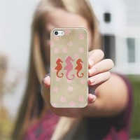 Seahorse Trio and Polka Dots Pinky Coral iPhone 5s case by Lisa Argyropoulos | Casetify