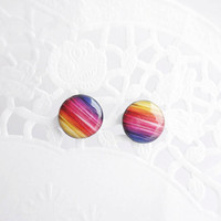 Rainbow colors small stud earrings
