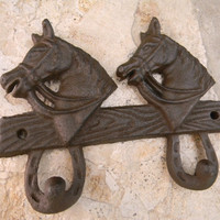 Cast Iron Double Wall Hook, Rustic Home Decor, Horse Head Country Western Decor, Animal Hook, Western Rustic Decor,  Key Hook, Towel Hook