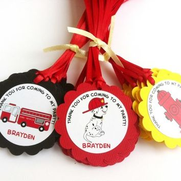 Firefighter Favor Tags with Dalmatian, Firetruck and Fire Hydrant