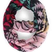 Multicolor Woven Scarf with Mixed Prints