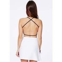 Missguided - Eveny Black Cross Back Crop Top