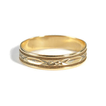 Art Deco Mens 10K Gold Wedding Band Ring Men's Ring