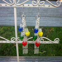 Christmas Light Lampwork Glass Silver Chain Earrings