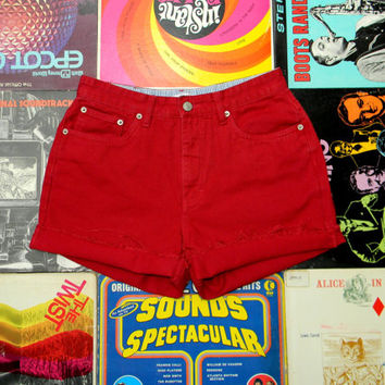 High Waisted Denim Shorts - 90s Deep Red Denim Jean Shorts - Frayed, Cuffed, Rolled Up Tommy Hilfiger Shorts Size 8 10 Medium M