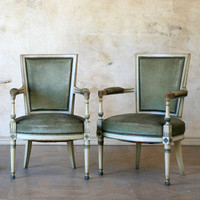 One of a Kind Antique Armchair Off White Set of 2