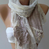 Elegance Shawl - Scarf with Lace Edge