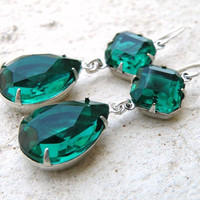 Angelina Jolie Inspired Emerald Green Stone Silver Dangle Earrings Estate Style Wedding Jewelry