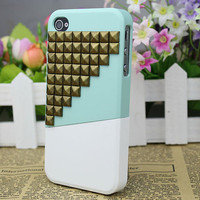 Apple iPhone 4gs Case, iPhone 4s Case, iPhone 4 Combination Cover Up And Down With Bronze Studs