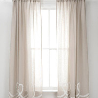 Pine Cone Hill Ruched Linen Platinum White Window Panel