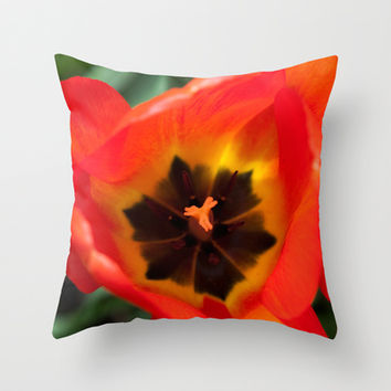Anatomy of a Tulip, Orange Throw Pillow by Legends of Darkness Photography
