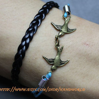 jewelry bracelet bronze bird bracelet black leather bracelet rope bracelet
