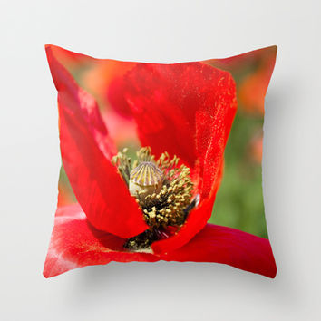 Anatomy of a Poppy: Bed of Petals Throw Pillow by Legends of Darkness Photography
