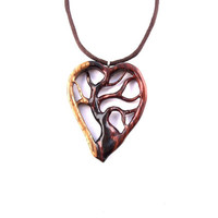 Wooden Heart Pendant, Wood Heart Necklace, 5th Anniversary Gift, Tree of Life Pendant, Tree Necklace, Wood Jewelry, Hand Carved Pendant