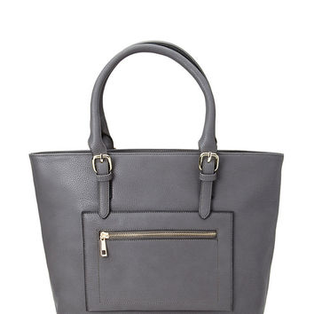 Textured Faux Leather Tote