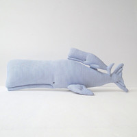 Stuffed whales, Plush Whales, animal toys. Cute nursery toys. Child friendly. Blue white stripped cloth. Great gift idea for baby shower