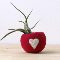 Felt succulent planter / felted bowl / Love pod / red with a heart / Mothers day gift - CHOOSE YOUR COLOR!