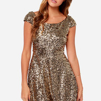 LULUS Exclusive Livin' the Gleam Gold Sequin Dress