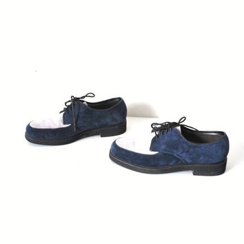 size 7 blue suede shoes / vintage 80s color blocked creepers rockabilly loafers