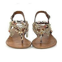 Magic Pieces Alloy Chain and Beaded Rainbow Color Sandals 0826J