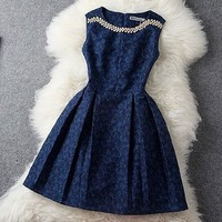 Women's Cute Dress With No Sleeves 0826J