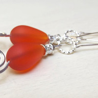 Sea Glass Dangle Earrings:  Orange Tangerine Tango Teardrop, Silver Swirls Filigree, Summer Beach Jewelry