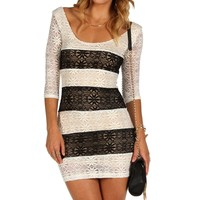 Ivory Striped Lace Bodycon Dress