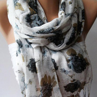 Grey  Flowers  -- Silky Touch - Elegance Shawl / Scarf