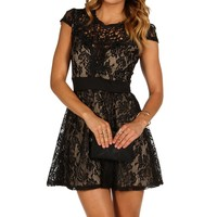 Black Pretty Little Lace Skater Dress