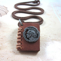 soft leather necklace,book pendant men leather long necklace, women leather necklace   PL0201