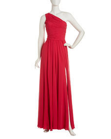 Halston Heritage One-Shoulder Gathered Gown