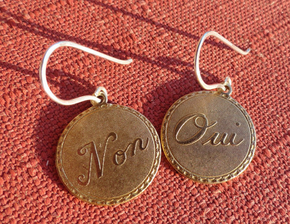 Oui, Non (French) Yes and No Brass Coin Earrings