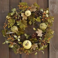 Faux Green Harvest Pumpkin Wreath